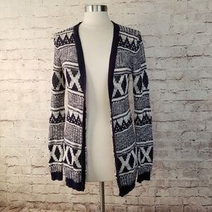 Mossimo Tribal Pattern Knit Open Cardigan Sweater